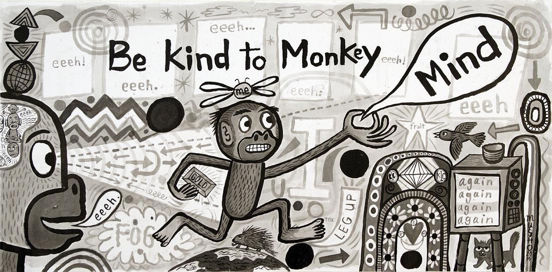 Artwork for Zen Koan Zhongyi's Monkey - ink on paper - 30 x 60 inches - 2014