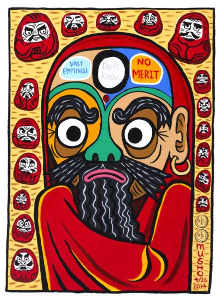 """""""Bodhidharma"""" 2014 acrylic on paper 22x14"""