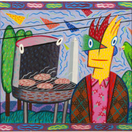 """""""Barbeque With Monument"""" 1980 Acrylic on Masonite with wood frame, 20 x 18.5"""