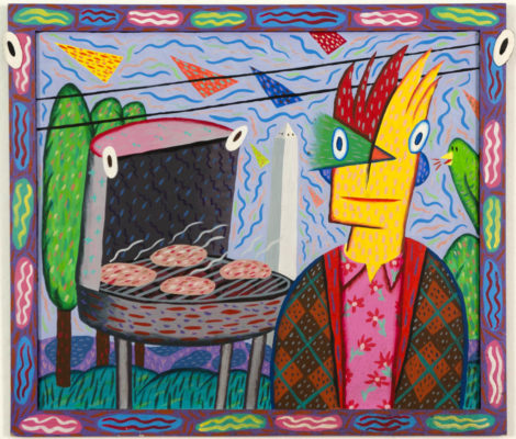 """Barbeque With Monument"" 1980 Acrylic on Masonite with wood frame, 20 x 18.5"