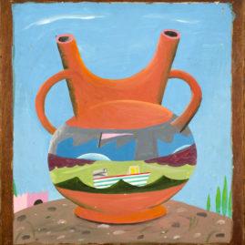 """""""The Amphora"""" 1981 Acrylic on wood panel 22 x 20"""