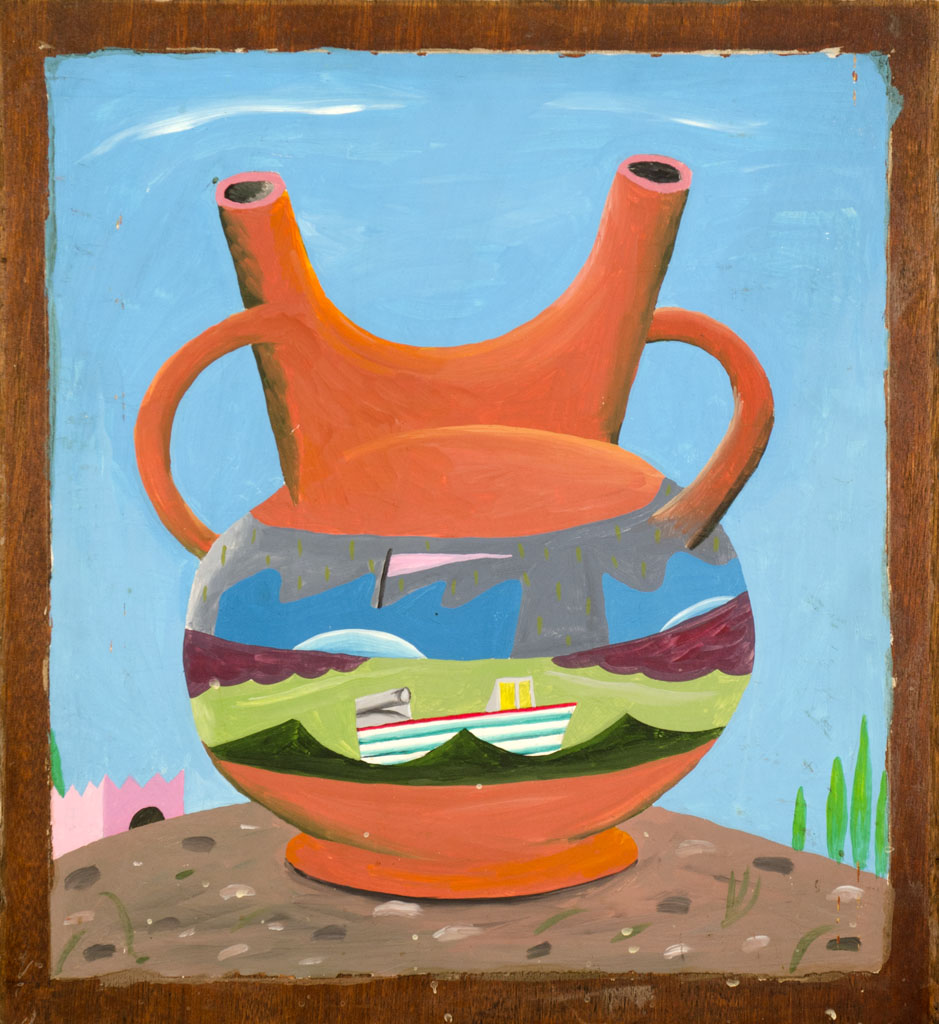 """The Amphora"" 1981 Acrylic on wood panel 22 x 20"
