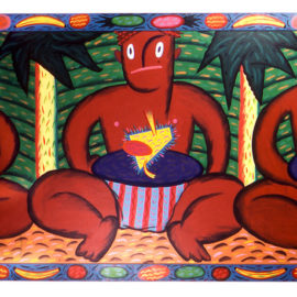 """""""Three Natives"""" 1981, Acrylic on wood panel with attached painted frame. 30 x 78."""
