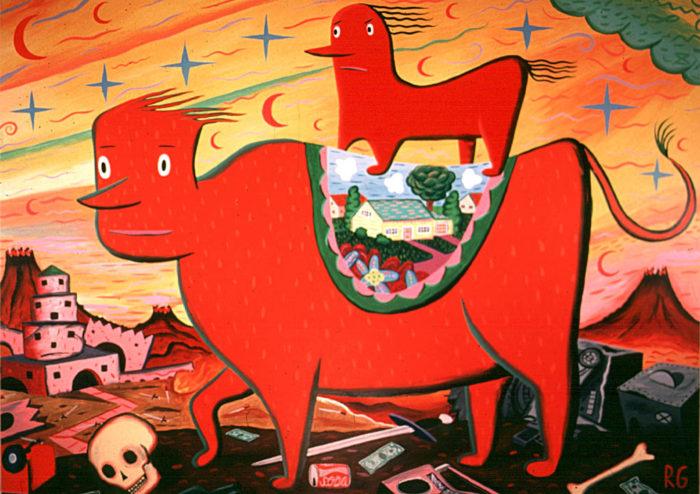 """""""The Ride"""" 1983 Acrylic on wood panel 48 x 60"""