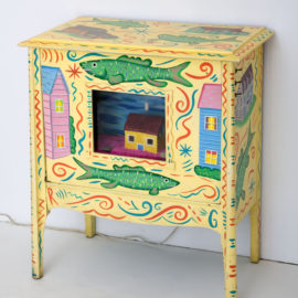 """""""The Underwater Suburbs"""" 1983 Acrylic on found furniture with fish tank and mixed materials. 30 x 24 x 14"""