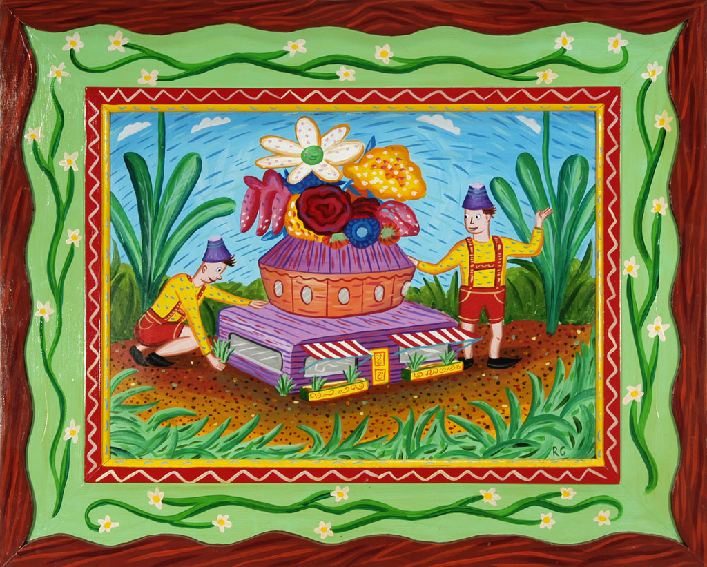 """""""Discovery in the Garden"""" 1985 Acrylic on wood panel with carved and painted frame. 22 x 28"""