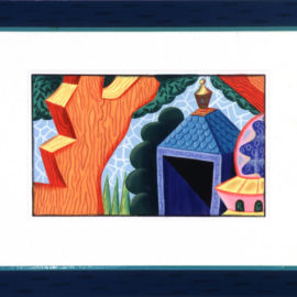 """This Garden Shed"" 1989 Gouache and colored pencil on paper with a painted frame. 20 x 27."