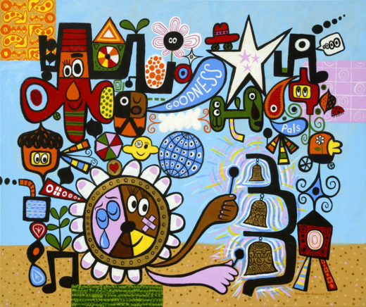 Open Society with Bells - Acrylic on canvas, 42 x 50 inches 2004