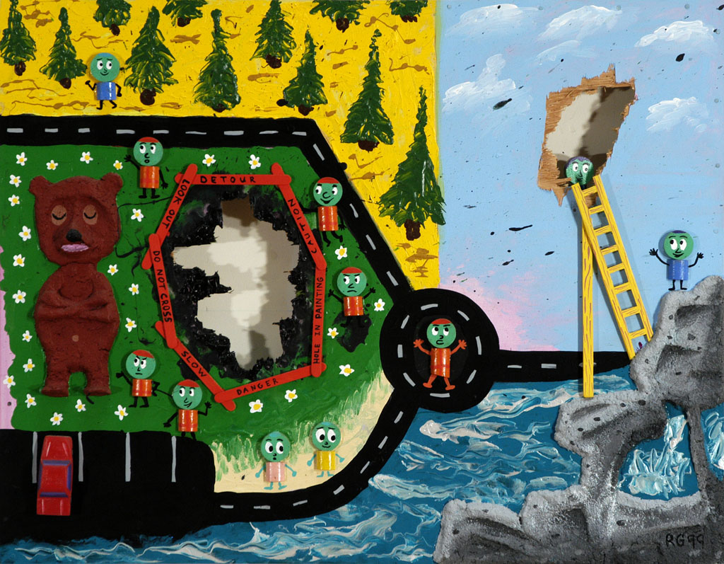 Bear And Holes - Acrylic on wood and paper mache, 1999