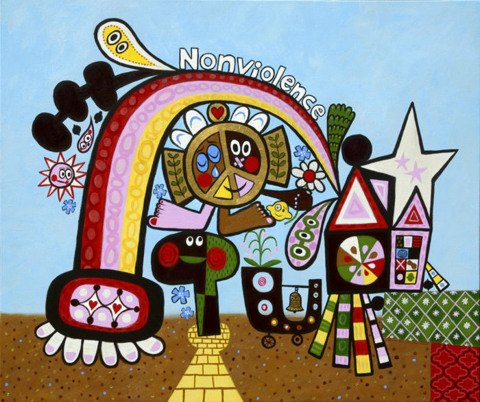 Peace House - Acrylic on Canvas, 50 x 42 inches, 2004