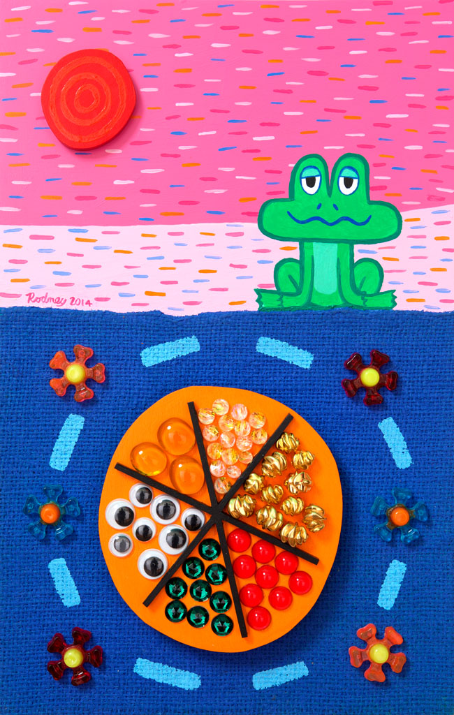 Frog's Valuables - Acrylic on wood panel with mixed materials - 15 x