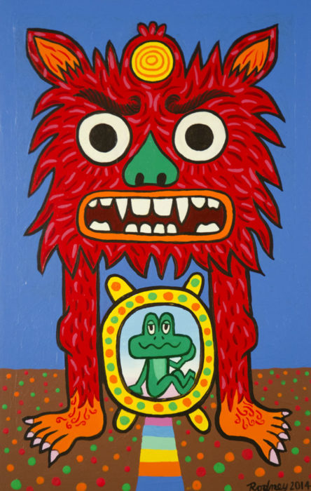 Dharma Protector Red - Acrylic on wood panel - 15 x 9 inches