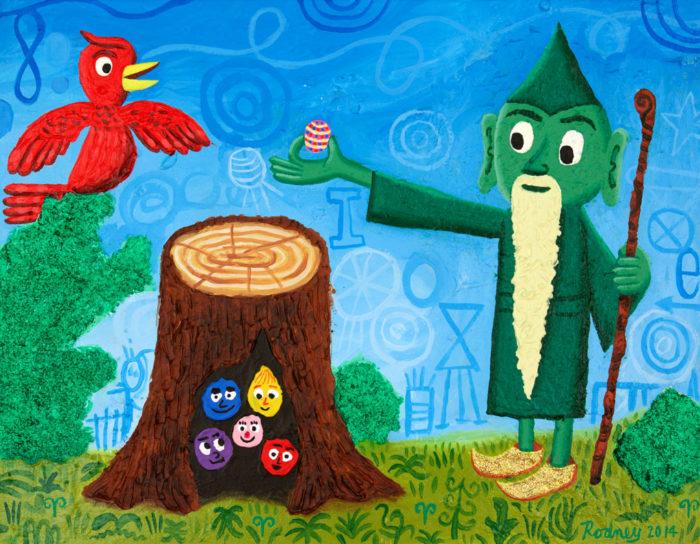 Feeding Red Bird - Acrylic on canvas with glitter - 2014